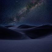 Desert dunes sand in milky way stars night sky photo mount
