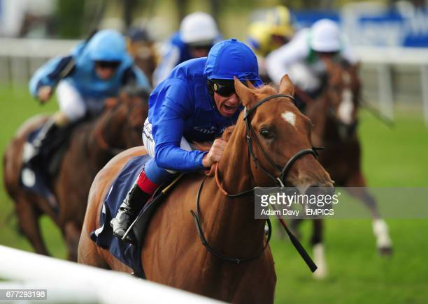 Desert Gazelle ridden by Frankie Dettori comes home to win the De La Warr Racing EBF Maiden Fillies' Stakes at Newmarket