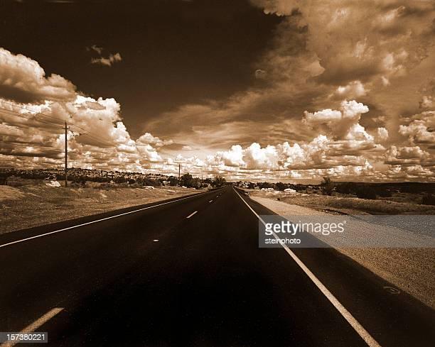 Desert highway in sepia color scheme