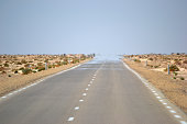 Mirage on desert in Tunisia, North Africa.
