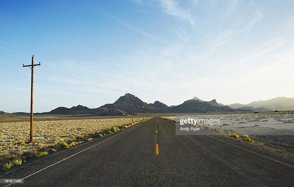 Desert road, Bonneville Salt Flats.