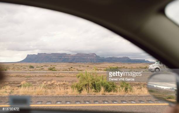 Desert Road, view through windscreen, Utah, USA.