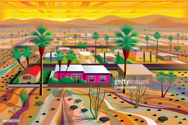 Desert Town in the Mojave Illustration in Vivid Color