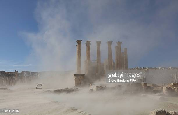 Desert wind blows sand across the Temple of Artemis at the Roman ruins of Jerash on October 10 2016 in Jerash Jordan