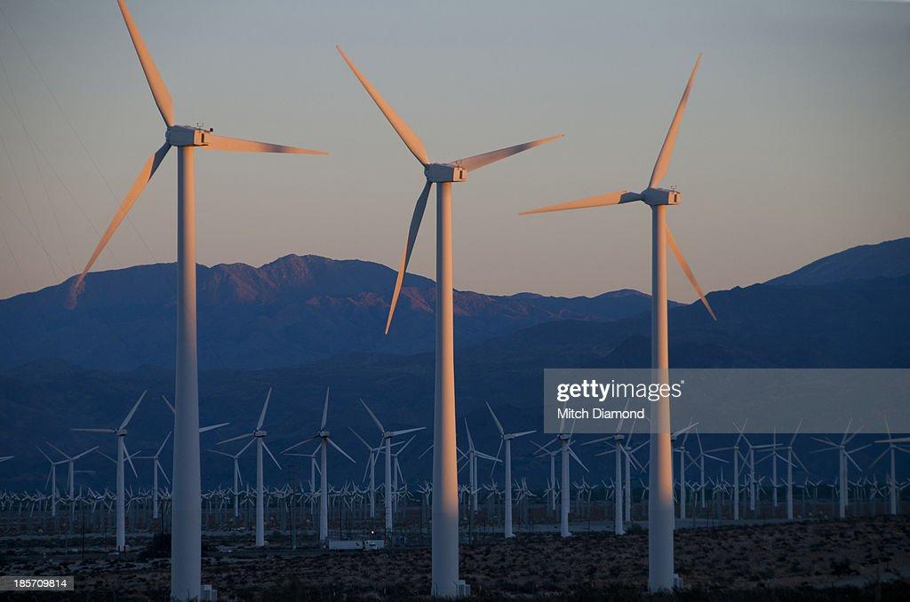 Desert wind turbines : Stock Photo