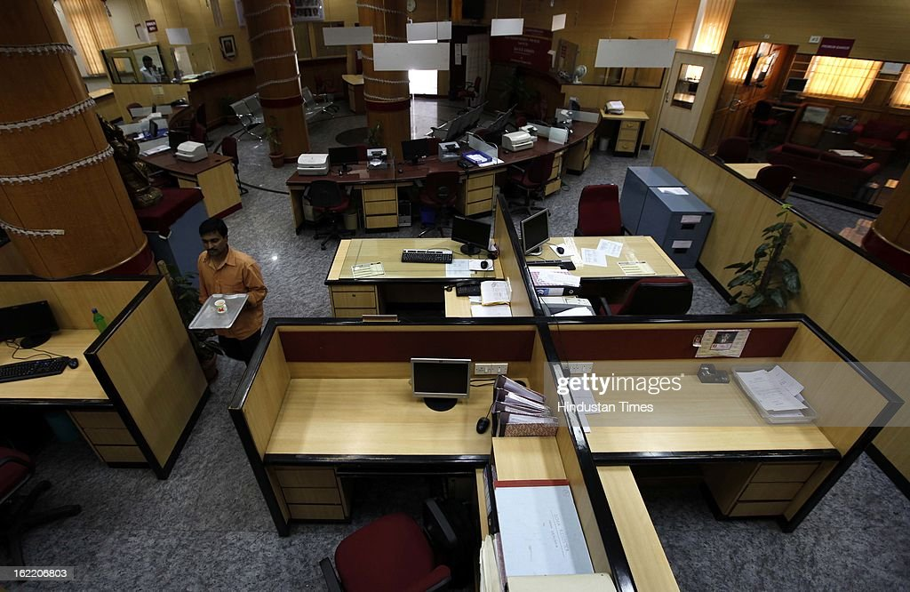 A deserted bank branch of PSU bank at Fort as all employee unions across the state supported 48 hours strike called by 11 national trade unions against the UPA Government's economic and alleged anti-labour policies on February 20, 2013 in Mumbai, India.