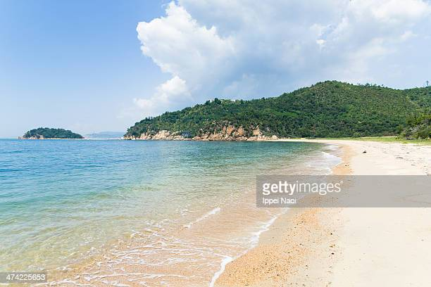Deserted beach with clear water, Naoshima