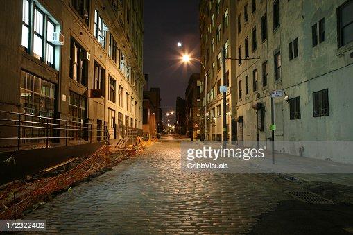 続くブルックリンダンボコブルストーン Backstreet 満月の夜