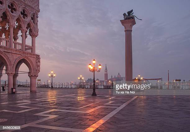 Deserted Piazza San Marco before sunrise