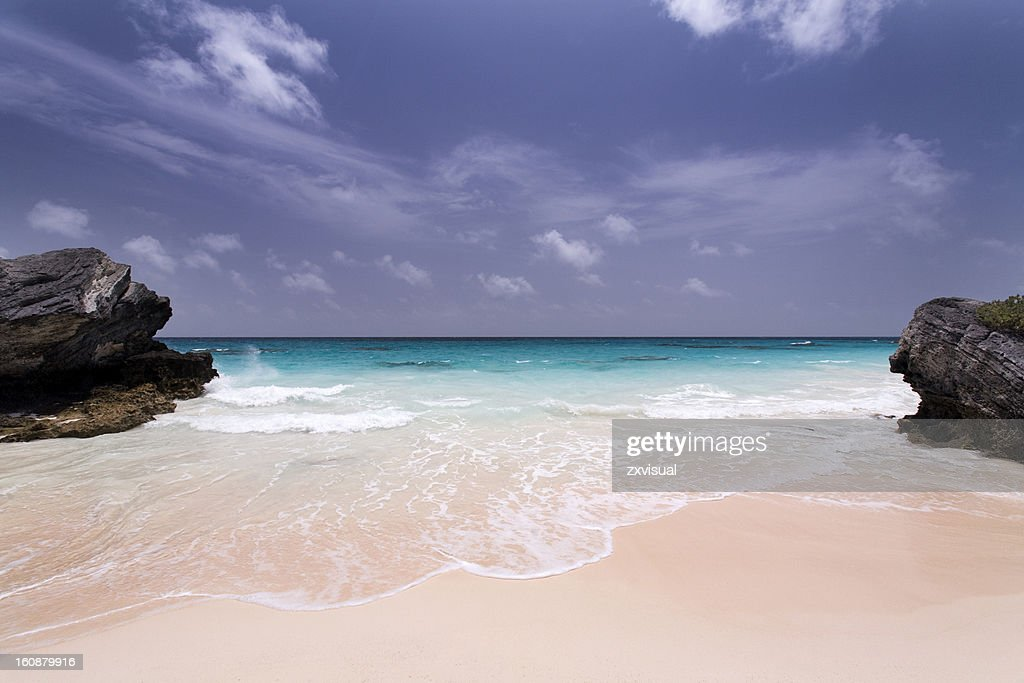 Deserted Pink Sand Beach in Bermuda : Stock Photo