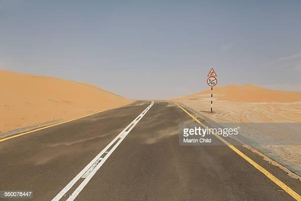 Deserted road in the Liwa desert near Abu Dhabi