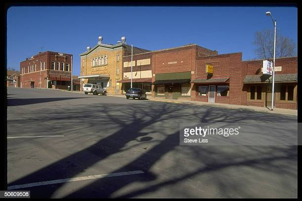 Deserted small town downtown shopping dist on Sat after noon re WalMart dept store giant killing off uncompetitive small stores