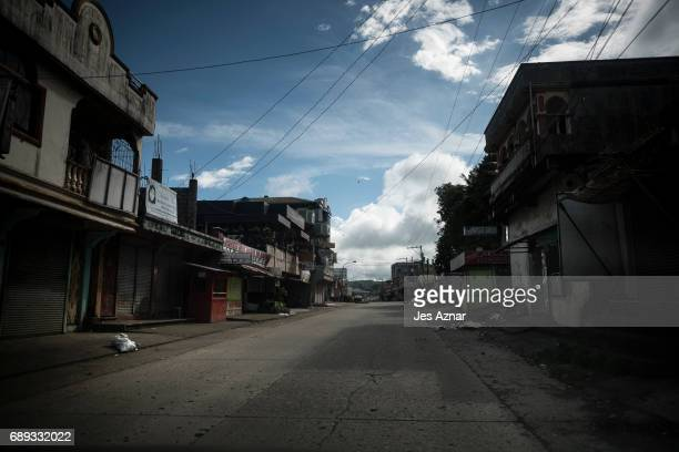 A deserted street in Marawi City where armed militants took control on May 28 2017 in Marawi city southern Philippines Filipino authorities announced...
