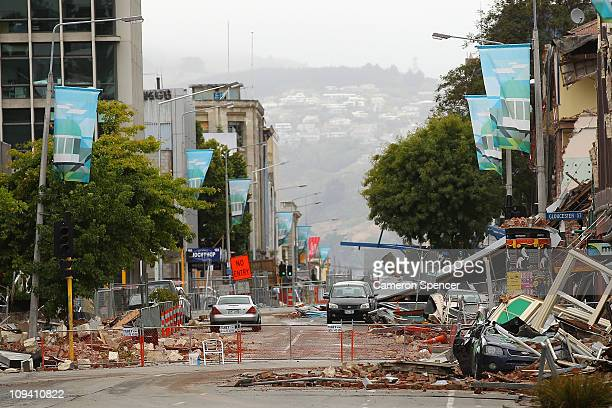 A deserted street in the city centre on February 25 2011 in Christchurch New Zealand The death toll has risen to 113 and the hope for finding...