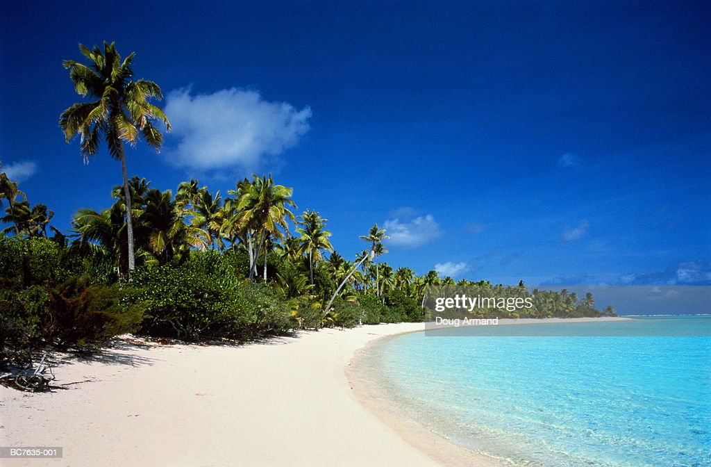 Deserted tropical beach, Aitutaki, Cook Islands (Digital Enhancement) : Stock Photo