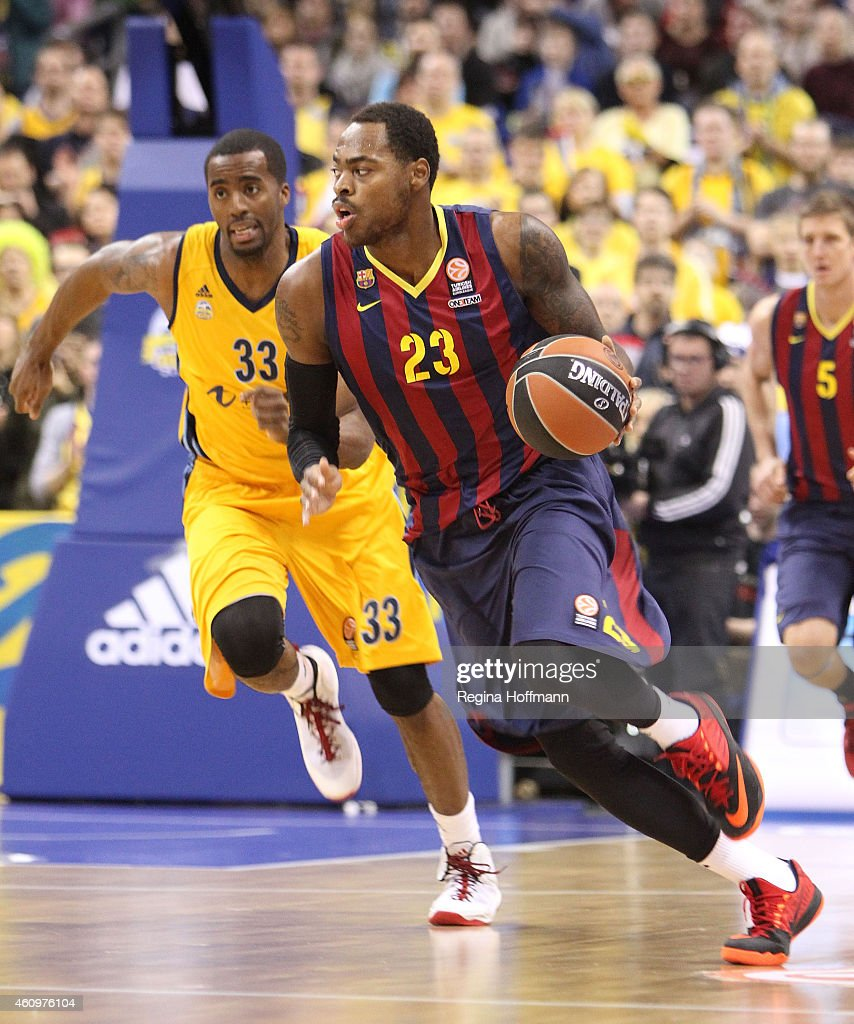 Deshaun Thomas #23 of FC Barcelona in action during the Euroleague Basketball Top 16 Date 1 game between Alba Berlin v FC Barcelona at O2 World on...