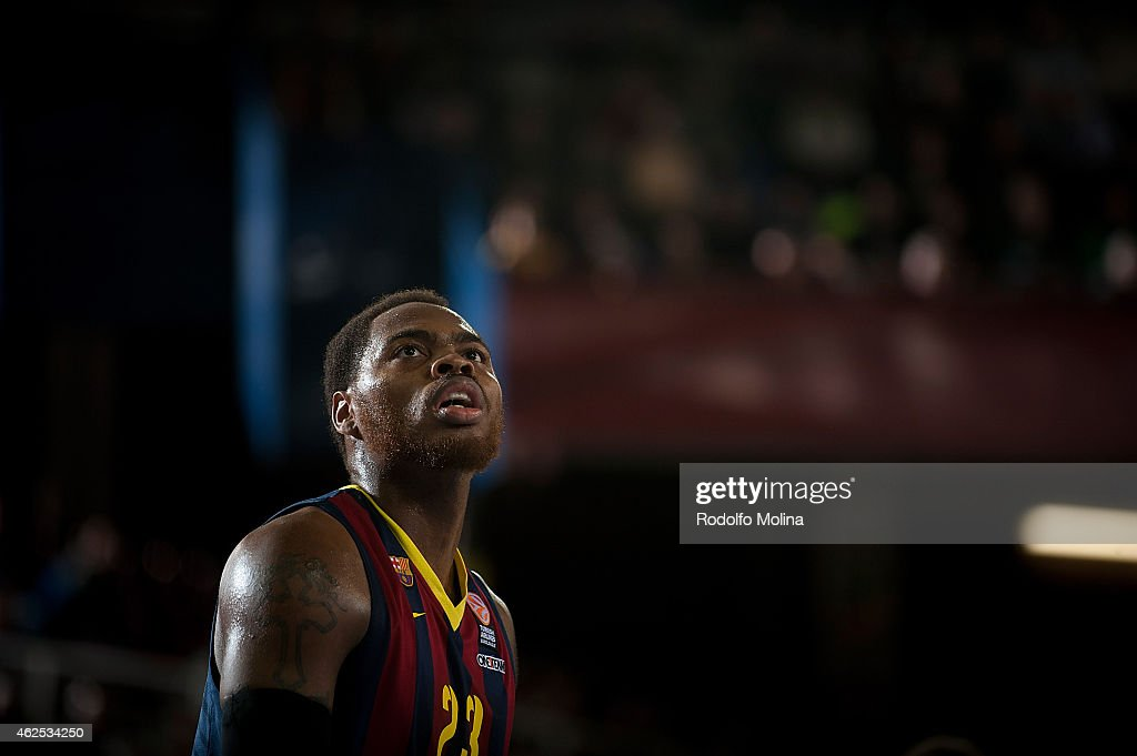Deshaun Thomas #23 of FC Barcelona in action during the Euroleague Basketball Top 16 Date 5 game between FC Barcelona v Zalgiris Kaunas at Palau...