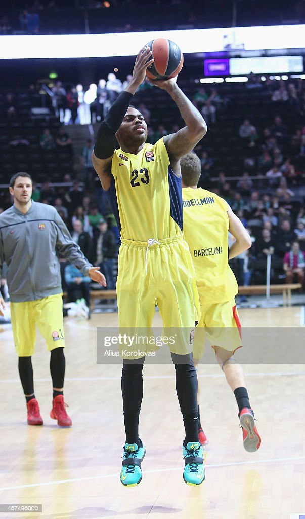 Deshaun Thomas #23 of FC Barcelona in action during the Turkish Airlines Euroleague Basketball Top 16 Date 12 game between Zalgiris Kaunas v FC...