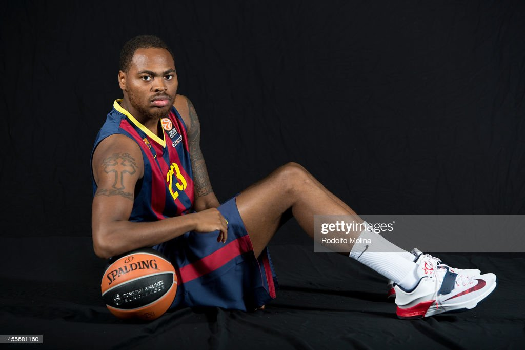 Deshaun Thomas #23 of FC Barcelona poses during the FC Barcelona 2014/2015 Turkish Airlines Euroleague Basketball Media Day at Ciutat Esportiva Joan...