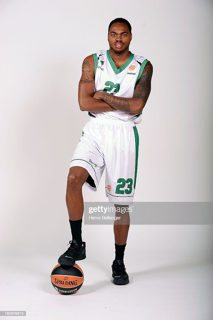 Deshaun Thomas #23 of JSF Nanterre poses during the JSF Nanterre 2013/14 Turkish Airlines Euroleague Basketball Media Day at Palais des Sports de...