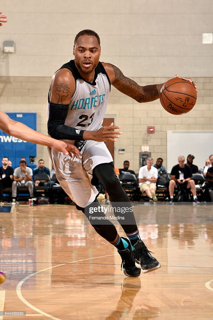 DeShaun Thomas of Charlotte Hornets drives to the basket during the game against the Indiana Pacers during the 2016 NBA Orlando Summer League on July...