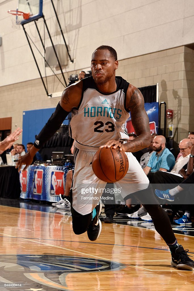 DeShaun Thomas of Charlotte Hornets handles the ball during the game against the Indiana Pacers during the 2016 NBA Orlando Summer League on July 3...