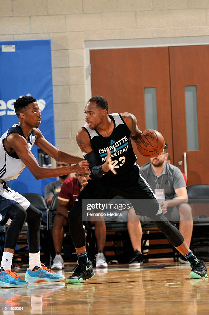 DeShaun Thomas of Charlotte Hornets handles the ball during the game against the Oklahoma City Thunder during the 2016 NBA Orlando Summer League on...