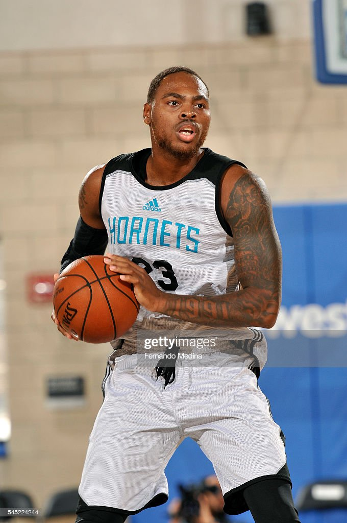 DeShaun Thomas of Charlotte Hornets handles the ball during the game against the Dallas Mavericks during the 2016 NBA Summer League on July 6 2016 at...