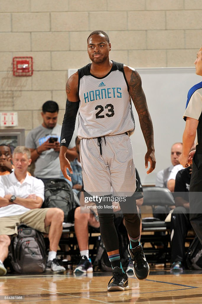 DeShaun Thomas of Charlotte Hornets looks on during the game against the Indiana Pacers during the 2016 NBA Orlando Summer League on July 3 2016 at...