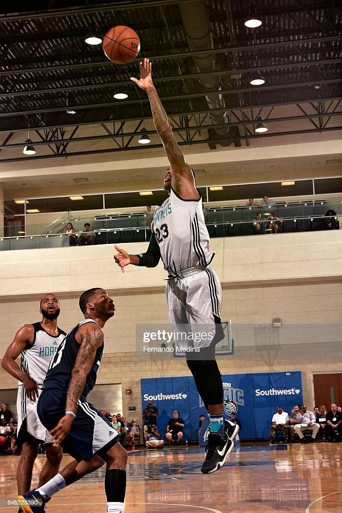 DeShaun Thomas of Charlotte Hornets shoots a lay up during the game against the Dallas Mavericks during the 2016 NBA Summer League on July 6 2016 at...
