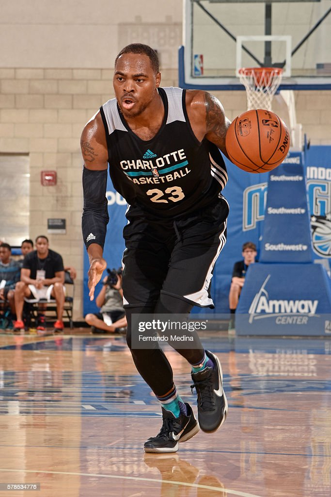 DeShaun Thomas of the Charlotte Hornets handles the ball against the Orlando Magic White during the 2016 Orlando Summer League on July 2 2016 at...