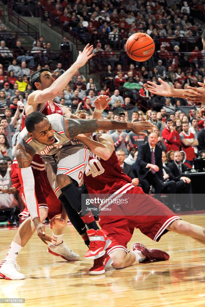 Deshaun Thomas #1 of the Ohio State Buckeyes battles for control of a loose ball with Will Sheehey #0 of the Indiana Hoosiers and <a gi-track='captionPersonalityLinkClicked' href=/galleries/search?phrase=Cody+Zeller&family=editorial&specificpeople=7621233 ng-click='$event.stopPropagation()'>Cody Zeller</a> #40 of the Indiana Hoosiers in the second half on February 10, 2013 at Value City Arena in Columbus, Ohio. Indiana defeated Ohio State 81-68.