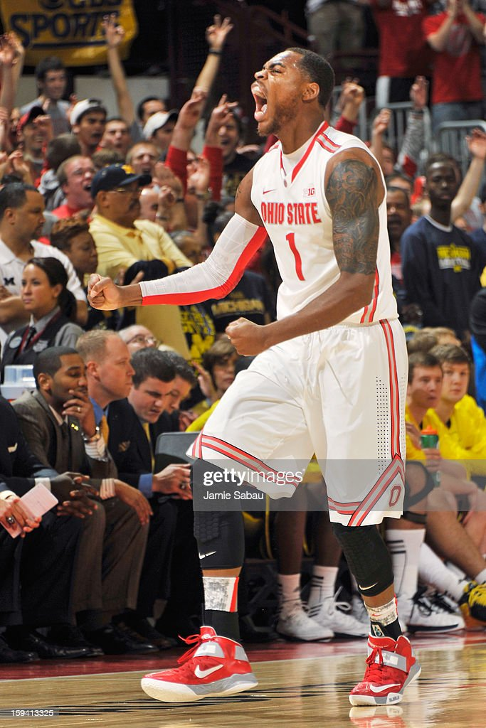 Deshaun Thomas #1 of the Ohio State Buckeyes celebrates after sinking a three point shot against the Michigan Wolverines in the first half on January 13, 2013 at Value City Arena in Columbus, Ohio.