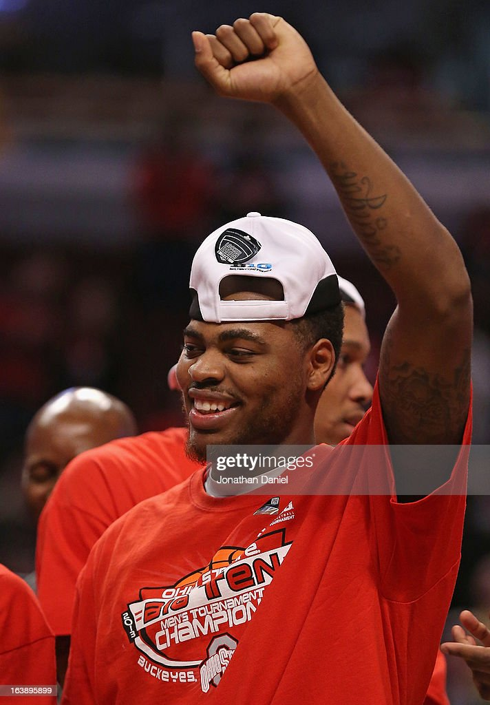 DeShaun Thomas #1 of the Ohio State Buckeyes celebrates after the Buckeyes defeated the Wisconsin Badgers during the Big Ten Basketball Tournament Championship game at United Center on March 17, 2013 in Chicago, Illinois. Ohio State defeats Wisconsin 50-43.