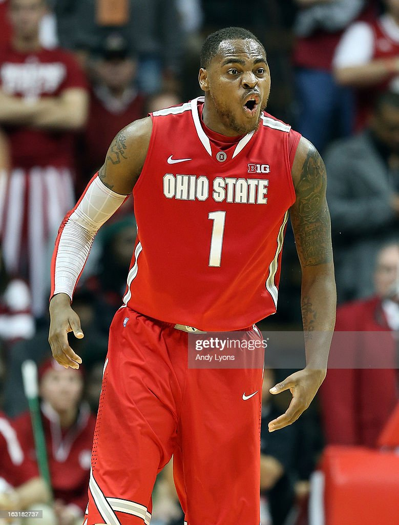 Deshaun Thomas #1 of the Ohio State Buckeyes celebrates during the game against the Indiana Hoosiers at Assembly Hall on March 5, 2013 in Bloomington, Indiana. Ohio State won 67-58.