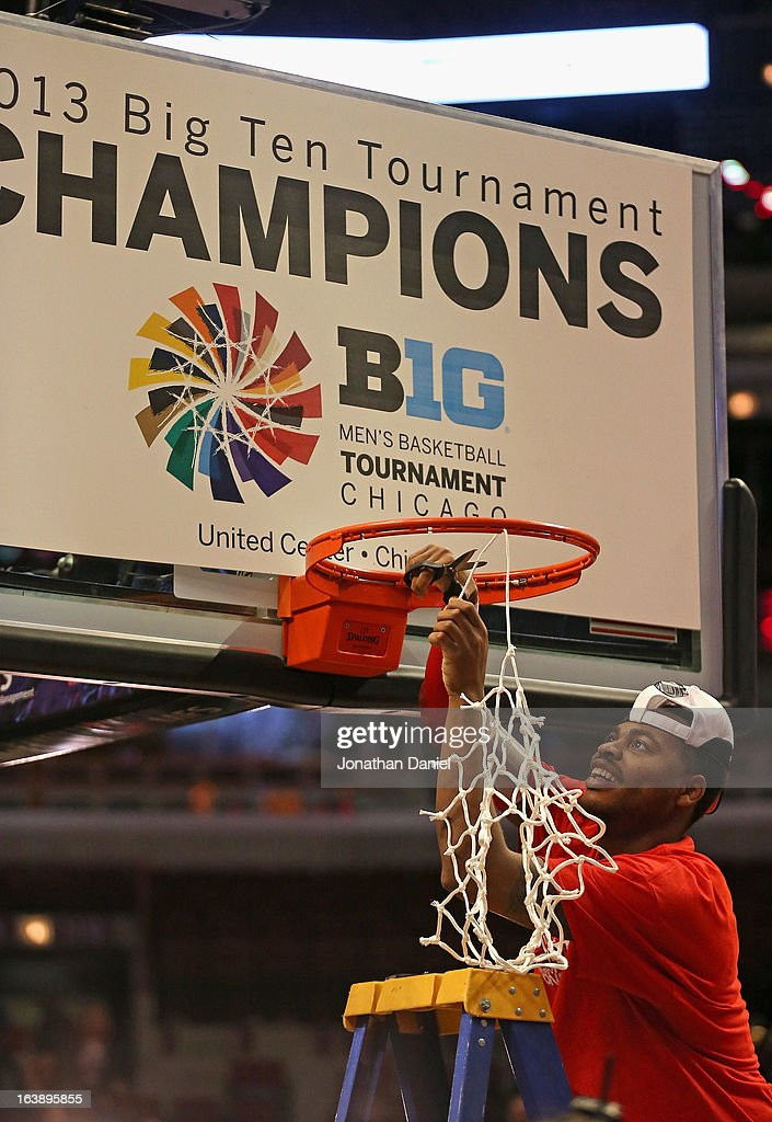 DeShaun Thomas #1 of the Ohio State Buckeyes cuts down the net after the Buckeyes defeated the Wisconsin Badgers during the Big Ten Basketball Tournament Championship game at United Center on March 17, 2013 in Chicago, Illinois. Ohio State defeats Wisconsin 50-43.