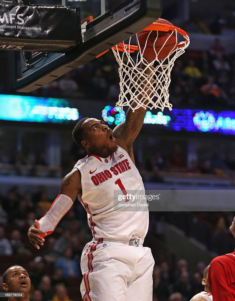 Deshaun Thomas #1 of the Ohio State Buckeyes dunks against the Nebraska Cornhuskers during a quarterfinal game of the Big Ten Basketball Tournament at the United Center on March 15, 2013 in Chicago, Illinois. Ohio State defeats Nebraska 71-50.