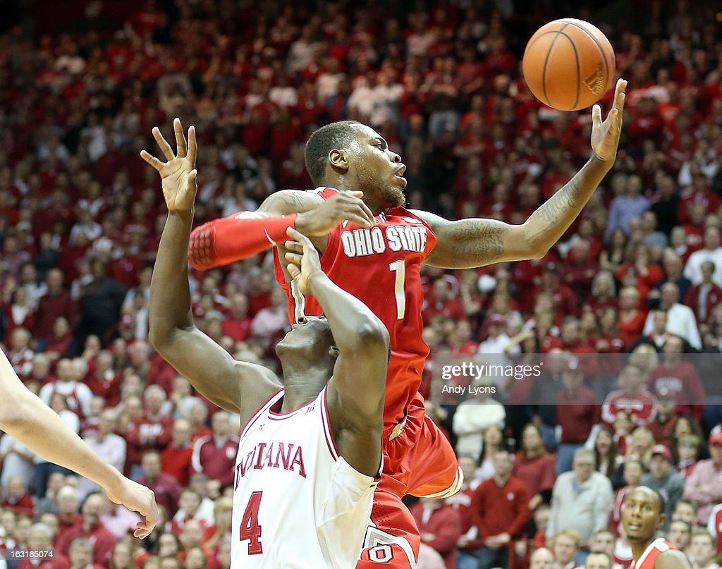 Deshaun Thomas #1 of the Ohio State Buckeyes grabs a rebound during the game against the Indiana Hoosiers at Assembly Hall on March 5, 2013 in Bloomington, Indiana. Ohio State won 67-58.