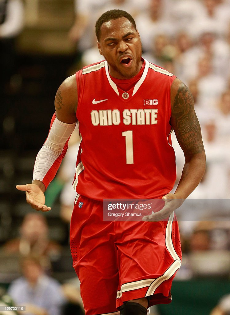 Deshaun Thomas #1 of the Ohio State Buckeyes reacts after a first-half three-point basket while playing the Michigan State Spartans at the Jack Breslin Center on January 19, 2013 in East Lansing, Michigan.