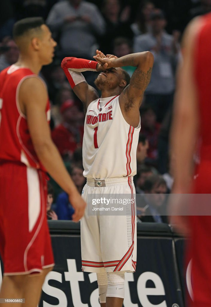 Deshaun Thomas #1 of the Ohio State Buckeyes reacts after the Buckeyes defeat the Wisconsin Badgers during the Big Ten Basketball Tournament Championship game at United Center on March 17, 2013 in Chicago, Illinois. Ohio State defeated Wisconsin 50-43.