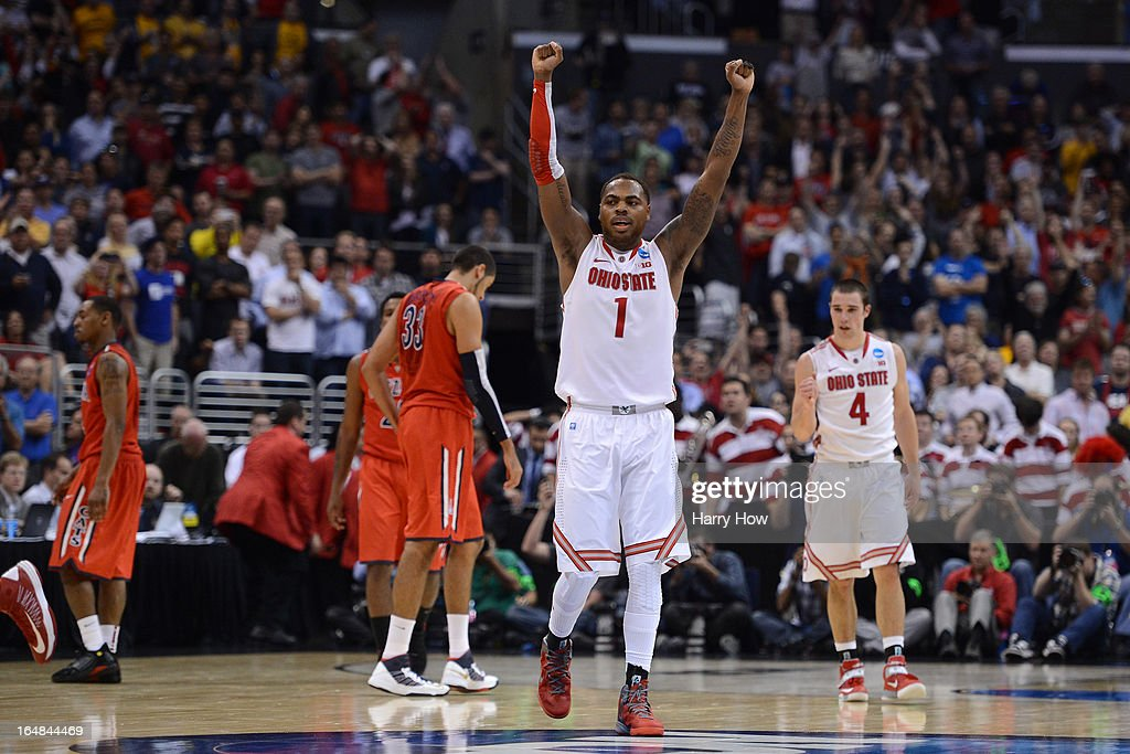Deshaun Thomas #1 of the Ohio State Buckeyes reacts late in the second half against the Arizona Wildcats during the West Regional of the 2013 NCAA Men's Basketball Tournament at Staples Center on March 28, 2013 in Los Angeles, California.