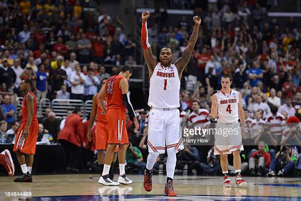 Deshaun Thomas of the Ohio State Buckeyes reacts late in the second half against the Arizona Wildcats during the West Regional of the 2013 NCAA Men's...