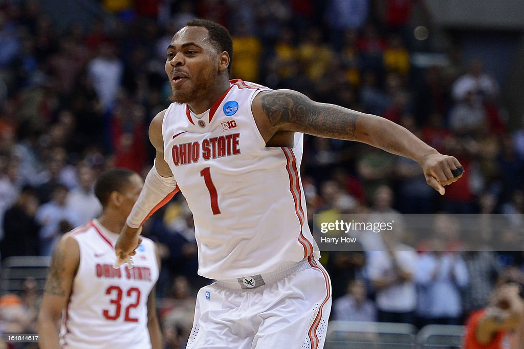 Deshaun Thomas of the Ohio State Buckeyes reacts late in the second half after LaQuinton Ross makes a threepointer against the Arizona Wildcats...