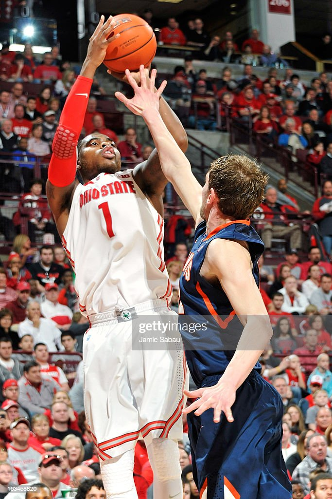 Deshaun Thomas #1 of the Ohio State Buckeyes shoots over Tyler Griffey #42 of the Illinois Fighting Illini in the second half on March 10, 2013 at Value City Arena in Columbus, Ohio. Ohio State defeated Illinois 68-55.