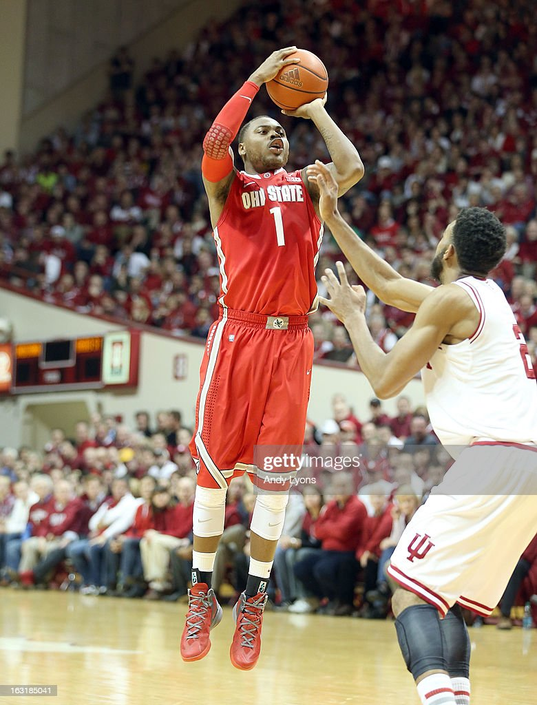 Deshaun Thomas #1 of the Ohio State Buckeyes shoots the ball during the game against the Indiana Hoosiers at Assembly Hall on March 5, 2013 in Bloomington, Indiana. Ohio State won 67-58.