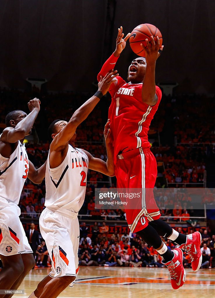 Deshaun Thomas #1 of the Ohio State Buckeyes shoots the ball over Joseph Bertrand #2 of the Illinois Fighting Illini at Assembly Hall on January 5, 2013 in Champaign, Illinois. Ilinois defeated Ohio State 74-55.