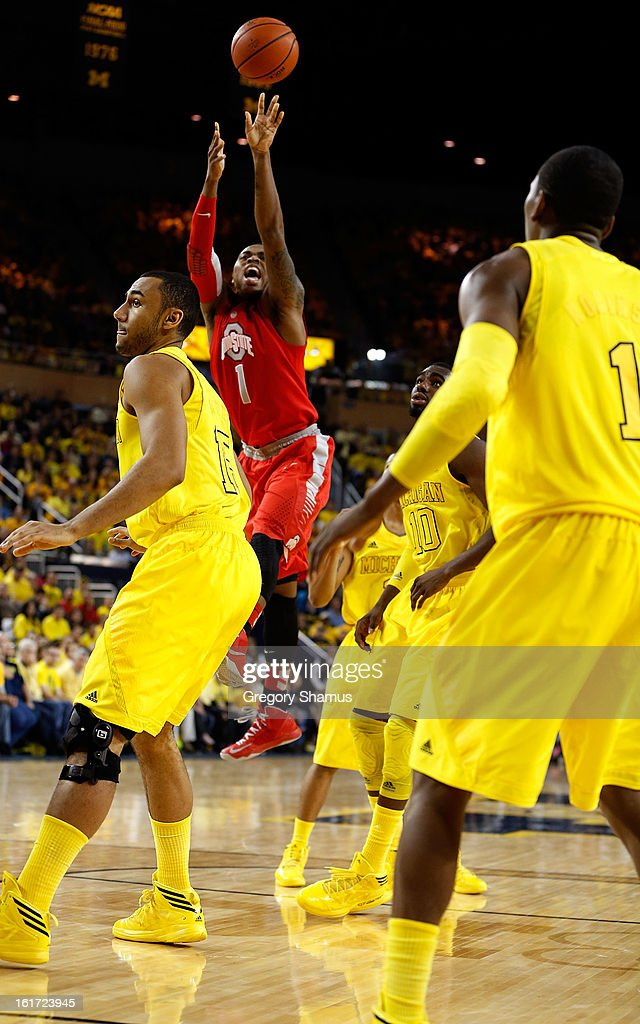 Deshaun Thomas #1 of the Ohio State Buckeyes takes a shot against the Michigan Wolverines at Crisler Center on February 5, 2013 in Ann Arbor, Michigan. Michigan won the game 76-74 in overtime.