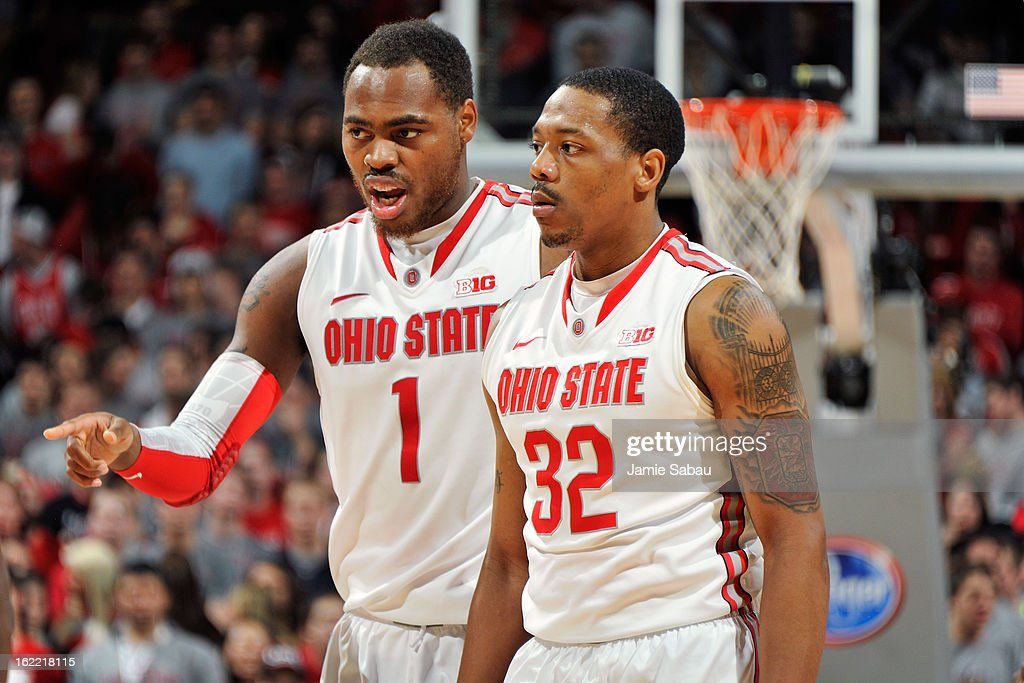 Deshaun Thomas #1 of the Ohio State Buckeyes talks with teammate Lenzelle Smith, Jr. #32 in the second half against the Minnesota Golden Gophers on February 20, 2013 at Value City Arena in Columbus, Ohio. Ohio State defeated Minnesota 71-45.