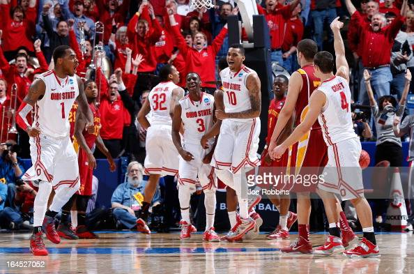 Deshaun Thomas Shannon Scott and LaQuinton Ross of the Ohio State Buckeyes celebrate after Aaron Craft makes a three point basket late in the second...