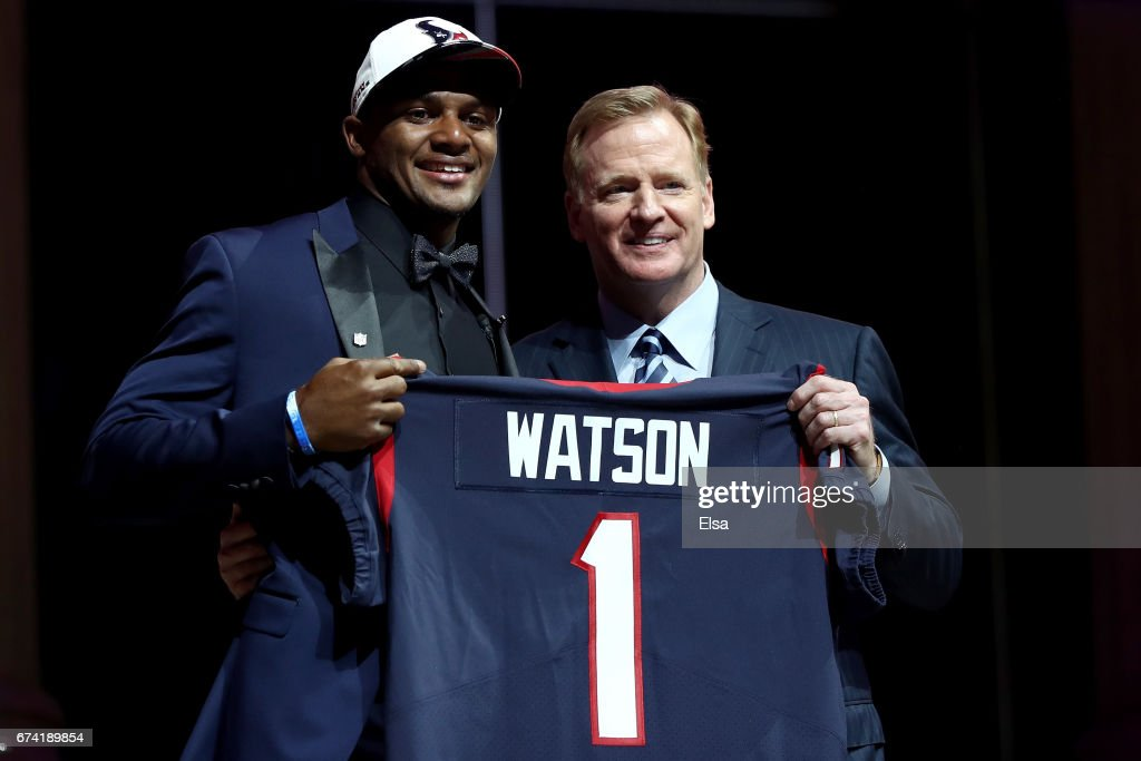 Deshaun Watson of Clemson poses with Commissioner of the National Football League Roger Goodell after being picked #12 overall by the Houston Texans during the first round of the 2017 NFL Draft at the Philadelphia Museum of Art on April 27, 2017 in Philadelphia, Pennsylvania.
